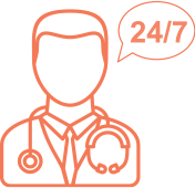 Physician with 24/7 Talk Bubble Icon